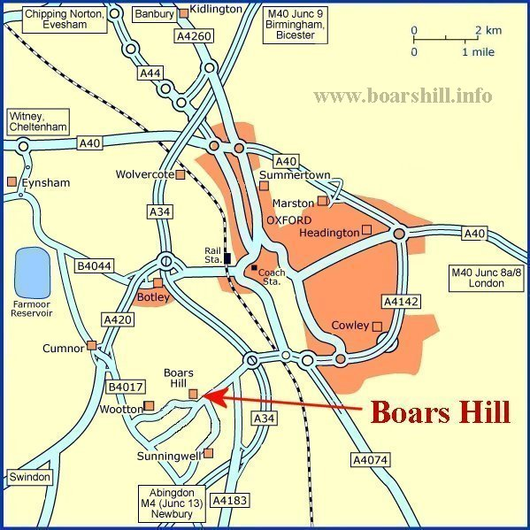Boars Hill Location Map