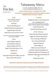 Fox Inn menu March 2020